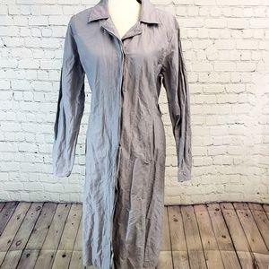 Eileen Fisher button down duster. Medium, gray